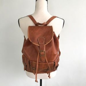 Genuine Leather Brown Backpack Purse